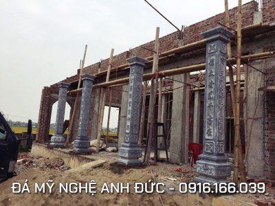Dựng cột đá cho Nhà thờ họ 3 gian tại Ninh Bình