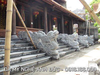 Lắp đặt 4 Rồng đá ngồi cho ngôi Chùa lớn ở Hải Dương RĐ#11