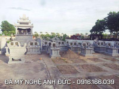 Mẫu Lăng mộ đá đẹp Anh Đức cho dòng họ Nguyễn tại Nghệ An, Diện tích 16x20m