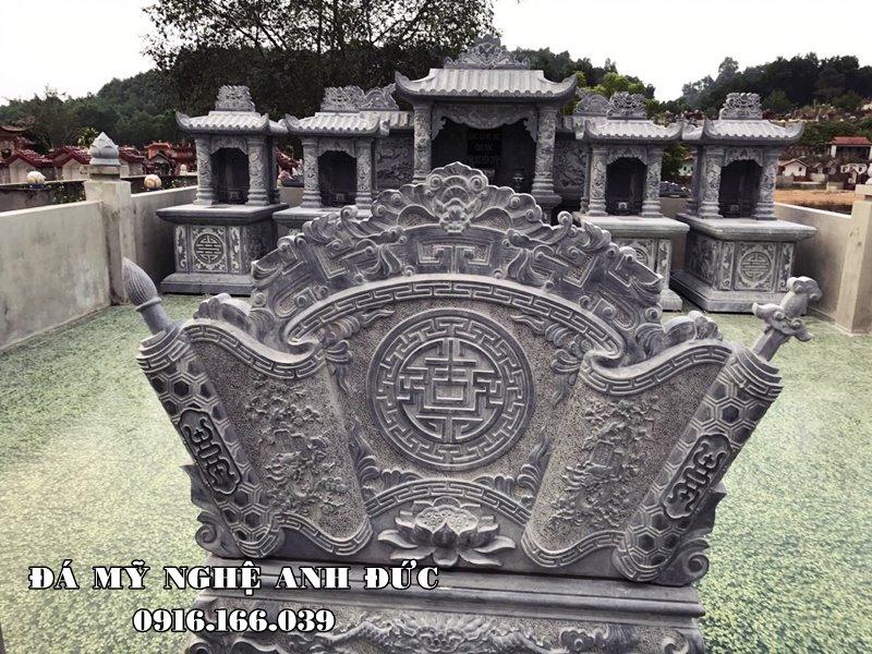 Mẫu Cuốn thư đá đẹp chữ Phúc tiếng Hán cho Khu lăng mộ đá xanh rêu tại Bắc Ninh