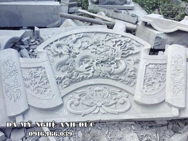 Mẫu Cuốn thư đá Song long tranh trâu (song long chầu nguyệt) của các Nghệ nhân Đá mỹ nghệ Anh Đức Ninh Vân, Hoa Lư, Ninh Bình điêu khắc.