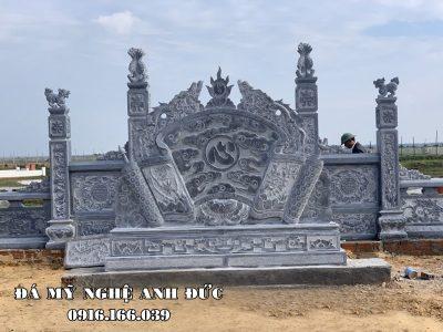 Cuốn thư đá xanh (Bình phong đá) cho Khu Lăng mộ đá đẹp