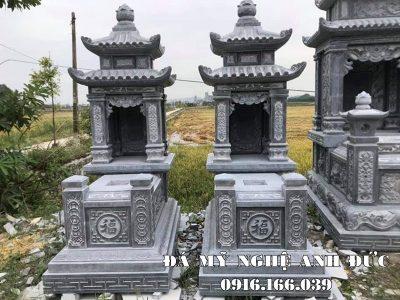 Mẫu Mộ đá hai mái đẹp đá xanh tự nhiên nguyên khối – Đá mỹ nghệ Ninh Bình