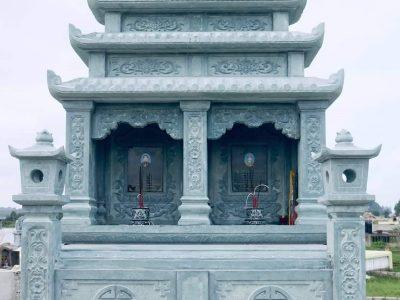 Xây Mộ đá đôi hai mái cho Ông Bà Nội của gia chủ tại Ninh Bình