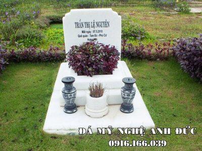 Mẫu Mộ đá trắng đẹp Anh Đức Ninh Bình tại Hoa Viên nghĩa trang sinh thái
